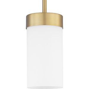 Elevate Brushed Bronze One-Light Mini-Pendant With Etched White Glass
