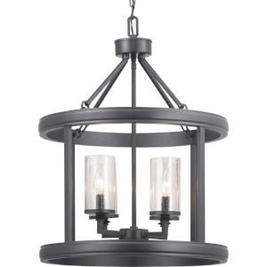 Gresham Graphite Four-Light Foyer With Transparent Seeded Glass