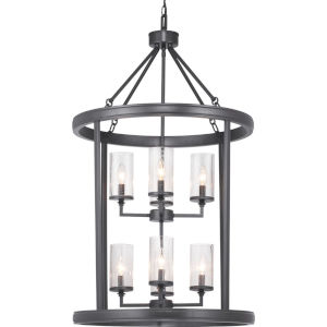 Gresham Graphite Eight-Light Foyer With Transparent Seeded Glass