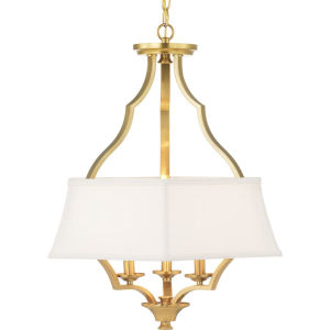 Brushed Bronze Three-Light Pendant With Linen Shade