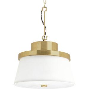 Windbluff Brushed Brass Three-Light Pendant With White Linen Shade