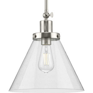 Hinton Brushed Nickel One-Light Pendant with Clear Seeded Glass