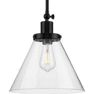 Hinton Matte Black One-Light Pendant with Clear Seeded Glass