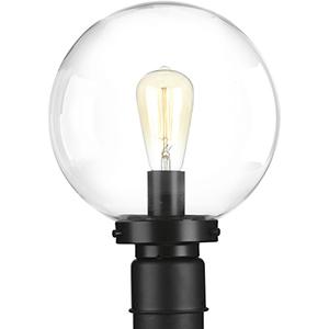 P540007-031: Globe Lanterns Black One-Light Outdoor Post Lantern