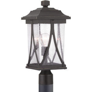 Abbott Antique Bronze One-Light Outdoor Post Lantern With Transparent Seeded Glass