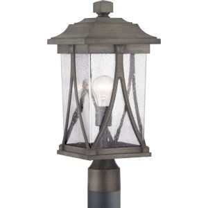 Abbott Antique Pewter One-Light Outdoor Post Lantern With Transparent Seeded Glass