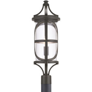 Morrison Antique Bronze One-Light Outdoor Post Lantern With Transparent Glass
