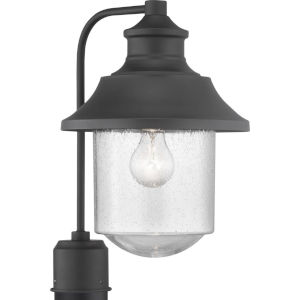 Weldon Black One-Light Outdoor Post Lantern With Transparent Seeded Glass