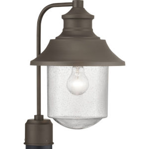 Weldon Bronze One-Light Outdoor Post Lantern With Transparent Seeded Glass