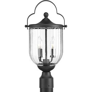 P540023-031: McPherson Black Three-Light Outdoor Post Lantern