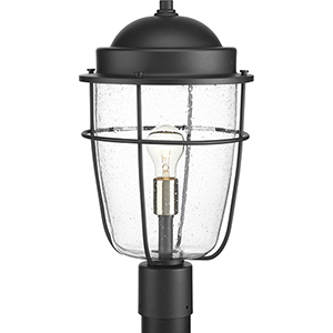 P540025-031: Holcombe Black One-Light Outdoor Post Lantern