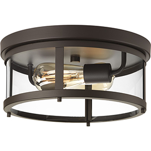 P550021-020: Gunther Antique Bronze Two-Light Outdoor Flush Mount