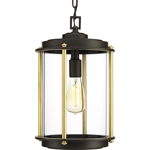 P550022-129: Laine Architectural Bronze and Gold One-Light Outdoor Pendant
