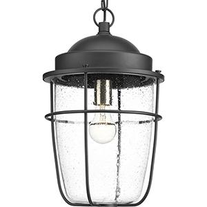 P550025-031: Holcombe Black One-Light Outdoor Pendant