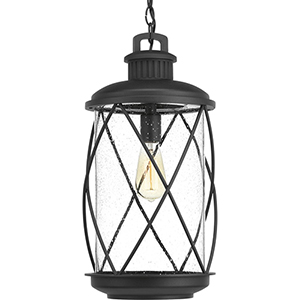 P550029-031: Hollingsworth Black One-Light Outdoor Pendant