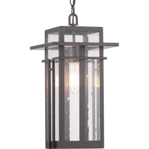 Antique Bronze One-Light Outdoor Hanging Lantern With Transparent Seeded Glass