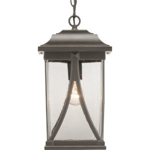Abbott Antique Bronze One-Light Outdoor Hanging Lantern With Transparent Seeded Glass