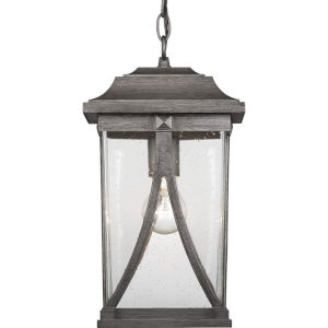 Abbott Antique Pewter One-Light Outdoor Hanging Lantern With Transparent Seeded Glass