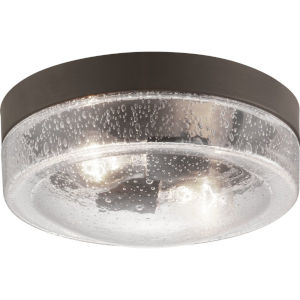 Weldon Bronze Two-Light Outdoor Flush Mount With Transparent Seeded Glass
