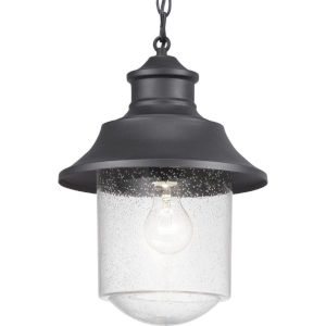 Weldon Black One-Light Outdoor Hanging Lantern With Transparent Seeded Glass