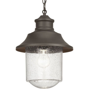 Weldon Bronze One-Light Outdoor Hanging Lantern With Transparent Seeded Glass