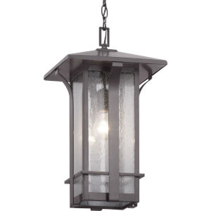 Cullman Antique Bronze One-Light Outdoor Hanging Lantern With Transparent Seeded Glass