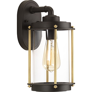 P560059-129: Laine Architectural Bronze and Gold One-Light Outdoor Wall Sconce