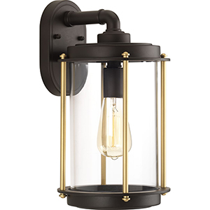 P560060-129: Laine Architectural Bronze and Gold One-Light Outdoor Wall Sconce