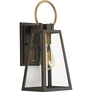 P560077-020: Barnett Antique Bronze and Brass One-Light Outdoor Wall Sconce