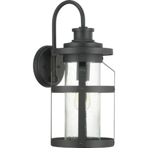 Haslett Black One-Light Outdoor Wall Lantern With Transparent Seeded Glass