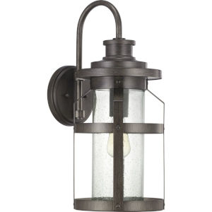 Haslett Antique Pewter 9-Inch One-Light Outdoor Wall Lantern With Transparent Seeded Glass