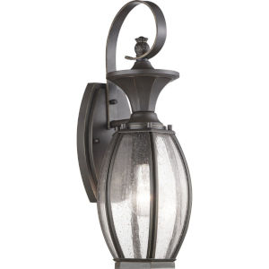 Antique Bronze 6-Inch One-Light Outdoor Wall Lantern With Transparent Seeded Glass