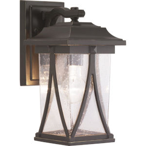 Abbott Antique Bronze 6-Inch One-Light Outdoor Wall Lantern With Transparent Seeded Glass