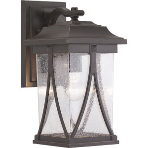 Abbott Antique Bronze 8-Inch One-Light Outdoor Wall Lantern With Transparent Seeded Glass