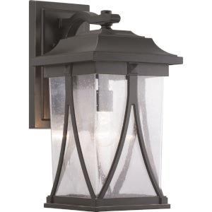 Abbott Antique Bronze One-Light Outdoor Wall Lantern With Transparent Seeded Glass