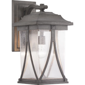 Abbott Antique Pewter One-Light Outdoor Wall Lantern With Transparent Seeded Glass