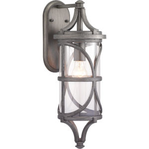 Morrison Antique Pewter 7-Inch One-Light Outdoor Wall Lantern With Transparent Glass