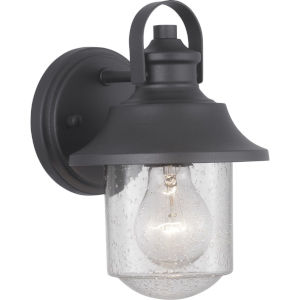 Weldon Black 6-Inch One-Light Outdoor Wall Lantern With Transparent Seeded Glass