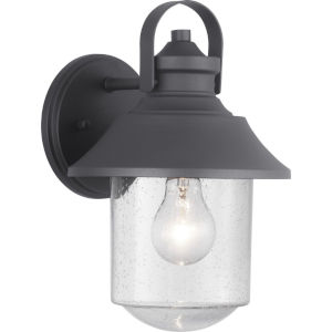 Weldon Black 8-Inch One-Light Outdoor Wall Lantern With Transparent Seeded Glass