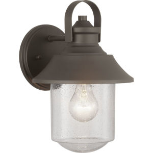 Weldon Bronze 8-Inch One-Light Outdoor Wall Lantern With Transparent Seeded Glass