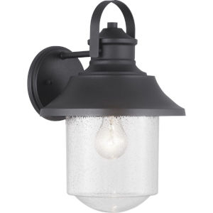 Weldon Black One-Light Outdoor Wall Lantern With Transparent Seeded Glass