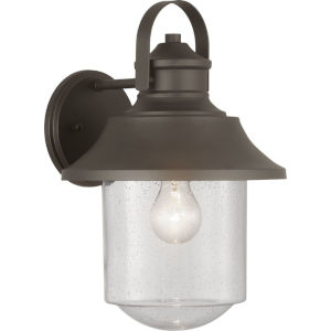 Weldon Bronze One-Light Outdoor Wall Lantern With Transparent Seeded Glass