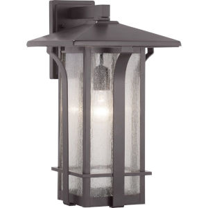 Cullman Antique Bronze One-Light Outdoor Wall Lantern With Transparent Seeded Glass