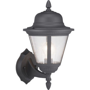 Westport Black One-Light Outdoor Wall Lantern With Transparent Seeded Glass