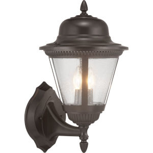 Westport Antique Bronze Two-Light Outdoor Wall Lantern With Transparent Seeded Glass