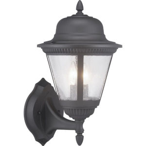Westport Black Two-Light Outdoor Wall Lantern With Transparent Seeded Glass