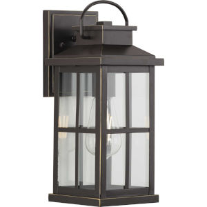 Williamston Antique Bronze 14-Inch Height One-Light Outdoor Wall Lantern with Clear Glass