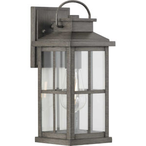 Williamston Antique Pewter 14-Inch Height One-Light Outdoor Wall Lantern with Clear Glass
