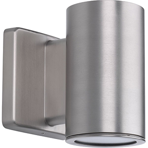 P563000-147-30K: Cylinders Satin Nickel Energy Star LED Outdoor Wall Sconce
