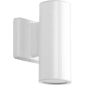 P563001-030-30K: Cylinders White Energy Star Two-Light LED Outdoor Wall Sconce